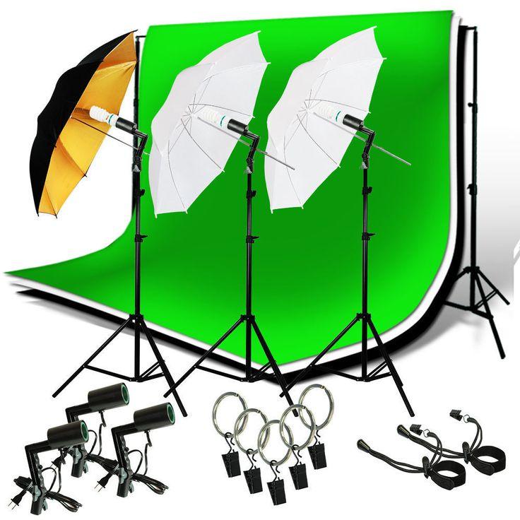 Studio Lighting Photography Photo Video 3 Backdrops Stand Muslin Photo Light Kit