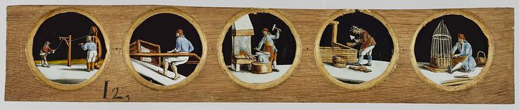 Anonymous | Vijf beroepen naar Het menselyk bedryf, Anonymous, Jan Luyken, Caspar Luyken, c. 1700 - c. 1790 | Vijf glaasjes met uitbeeldingen van beroepen in een houten vatting. Uiterst links: de touwslager aan een lijnbaan. Rechts daarvan: de lijmmaker trekt een grote mand voort. In het midden: de smid bij een aambeeld, naast hem een vuur. Rechts daarvan: de metselaar, met troffel en baksteen in de hand gebogen over een lage muur. Uiterst recht: een mandenmaker vlecht zittend een mand.