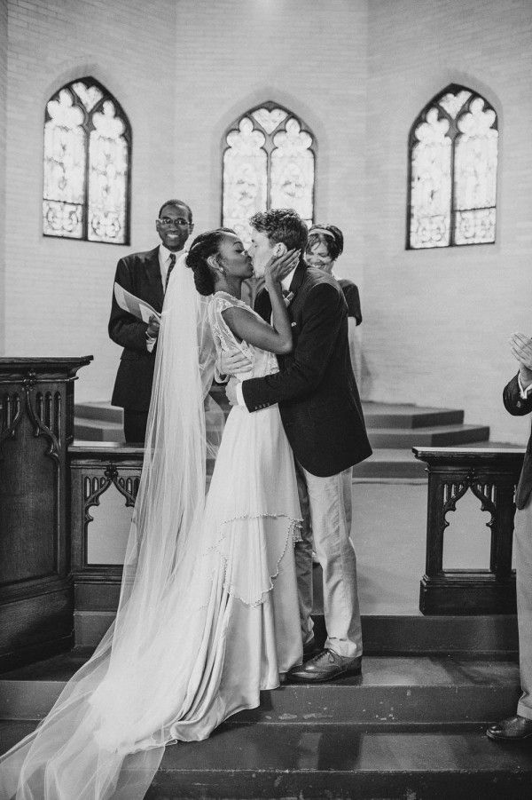 Gorgeous interracial couple sharing their first kiss as husband and wife #love #wmbw #bwwm