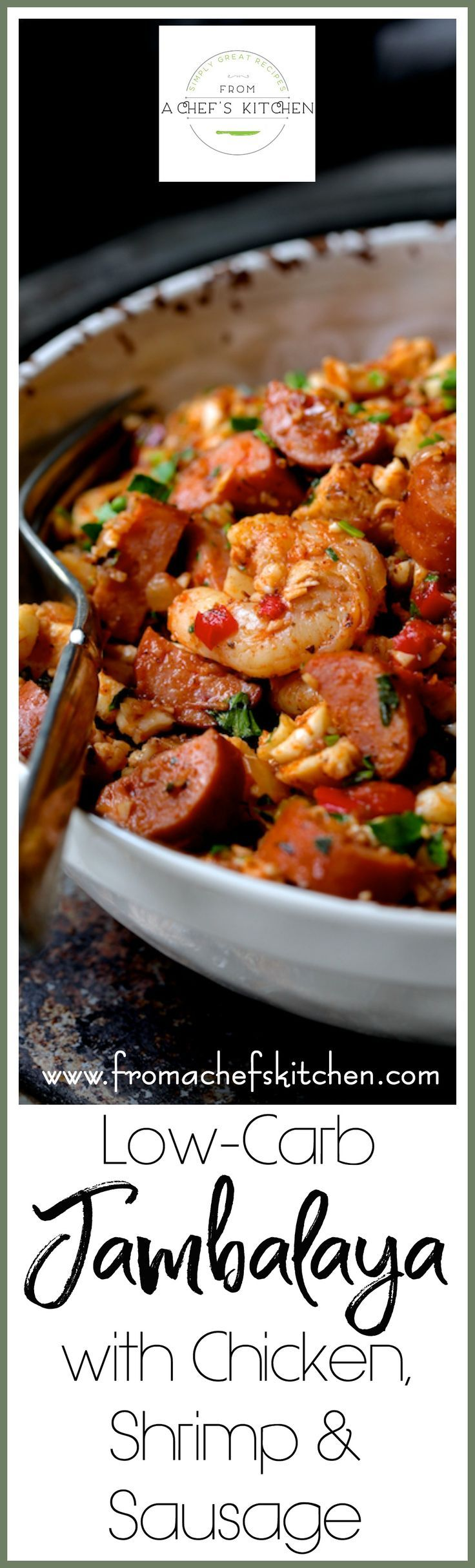 "Low Carb Jambalaya with Chicken, Shrimp and Sausage is a healthful and nutritious twist on the New Orleans classic that's made with cauliflower ""rice."" via @chefcarolb"