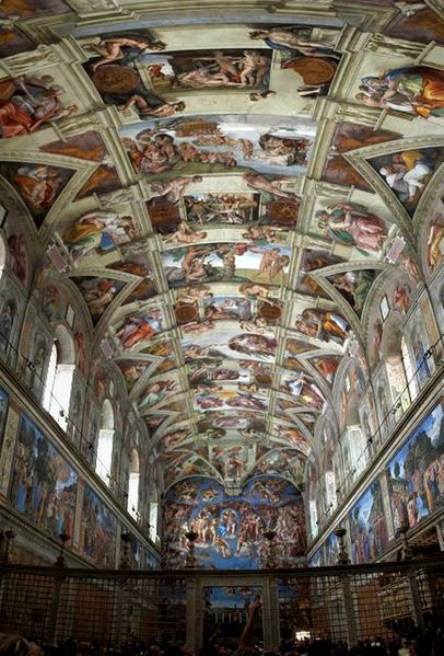 Rome, Italy - Sistine Chapel. Benches line the walls where people sit side by side, sketchbooks in their hands, looking at the ceiling then down to draw some more. Photos are not allowed but if you're crafty enough...