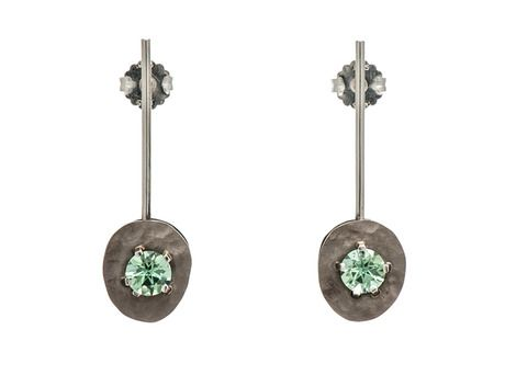 Drift earrings by Emma Goodsir (18ct white gold, oxidised silver, Mint tourmaline)