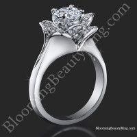 Lotus Ring 8 Petal .58 ct. Diamond Clean Split Shank Flower Ring<br>$2699