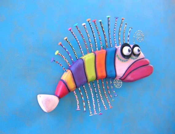 Fish Wall Art Rainbow Trout Original Found Object von FigJamStudio