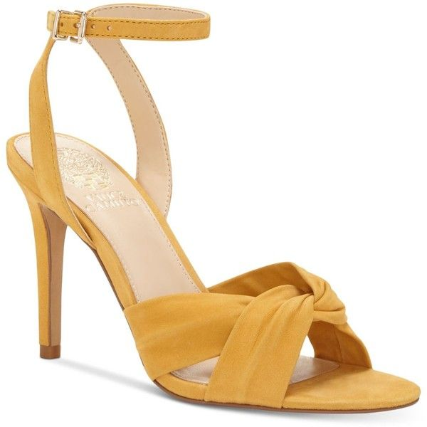 Vince Camuto Jenika Knotted Sandals ($110) ❤ liked on Polyvore featuring shoes, sandals, mustard yellow, ankle tie sandals, ankle strap stilettos, fancy sandal, ankle wrap sandals and dressy sandals