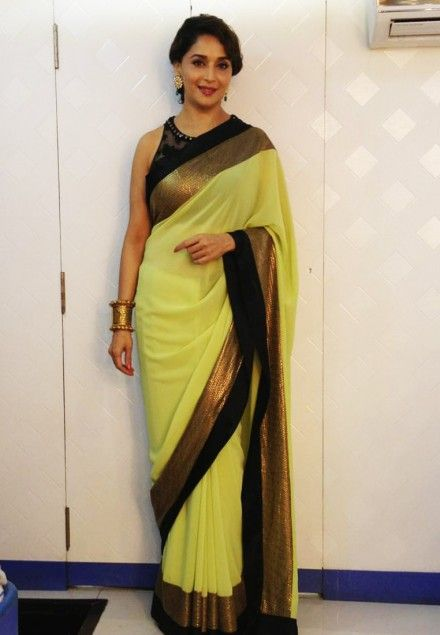 Madhuri Dixit In Neon Green Saree In Jhalak Dikhlaja