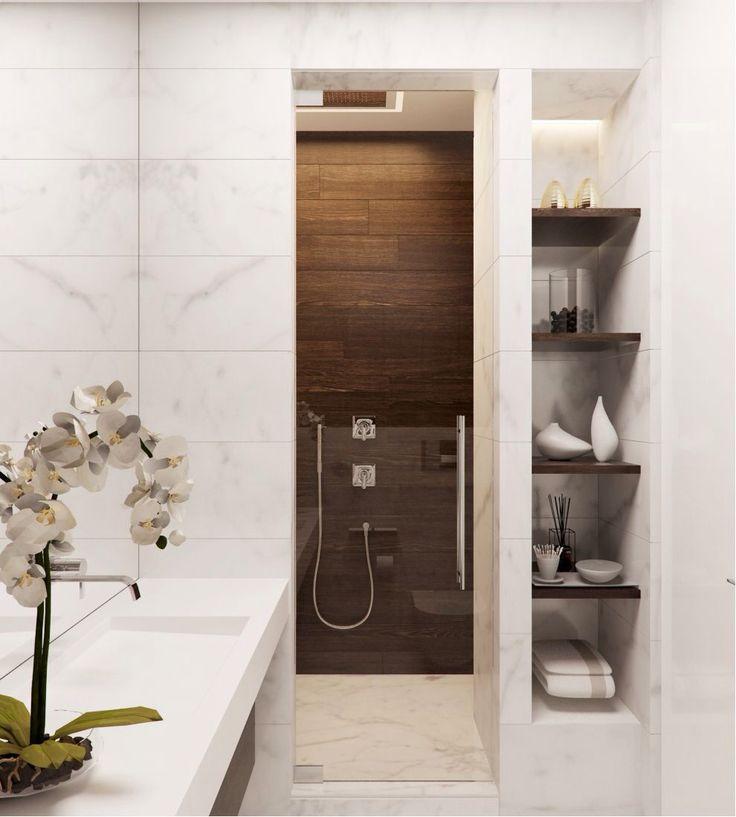 Inspiration #déco pour la salle de bains #sdb #blanc #bois #décoration  http://www.m-habitat.fr/douche/types-de-douches/la-douche-cabine-402_A