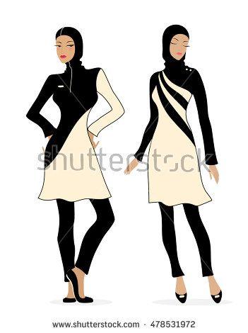 Two girls in swimsuits Islamic burkini. Illustration of Muslim fashion.
