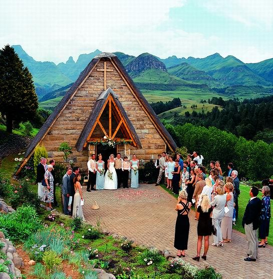 Yes please!!! A country style wedding with a mountain view that could make your heart skip a beat is what Cathedral Peak Hotel in Drakensberg offers. Set against a backdrop of the Cathedral Peak mountain range, the hotel offers picturesque view, warm hospitality , beautiful gardens, quaint stone and thatch chapel and memories that would remain for a life time.