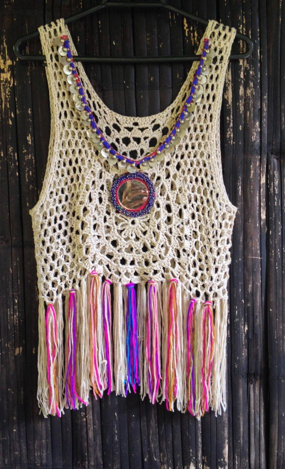 Handmade Crochet Fringed Boho Top with Vintage Mirror and Beaded Jewelry