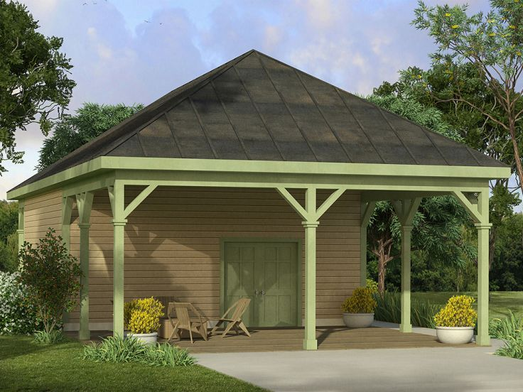 Good Small Outbuilding Plans #10: 051G-0088: Workshop Plan With Carport