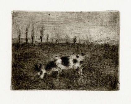 Bohuslav Reynek Koza v brambořišti / Goat in the Potato Field suchá jehla / dry point 9 x 12,1, 1961, otisk z původní desky, opus G 492
