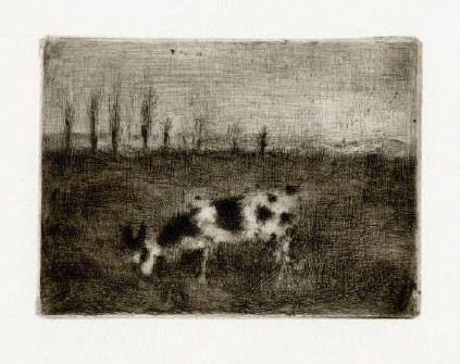 Bohuslav Reynek Koza v brambořišti / Goat in the Potato Field suchá jehla / dry…