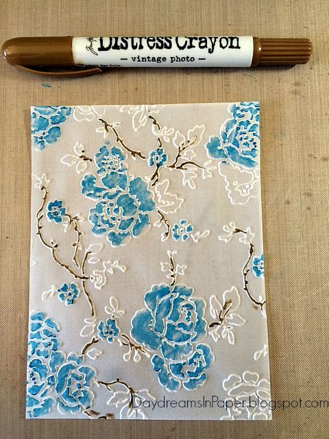 Daydreams In Paper: Ranger Ink Distress Crayons, Vellum and an Embossing Folder = Beautiful Results!
