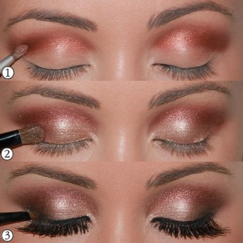 Copper, coral and champagne smokey eye