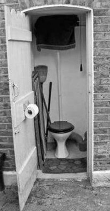 Outside toilet......one of my great-aunts  (May) in Gravesend, Kent had one just like this. Spotlessly clean, smelling of Lifeguard disinfectant...and freezing cold in the colder months!