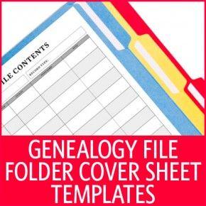 Genealogy File Folder Cover Sheet Templates | ShopFamilyTree