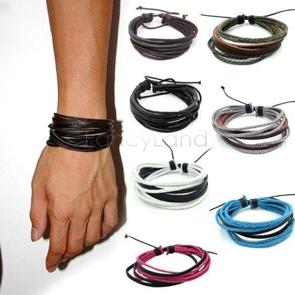 Мужской браслет мода ювелирные изделия обруча многослойные кожаный плетеная веревка браслет бижутерия манжеты любит браслеты и браслеты