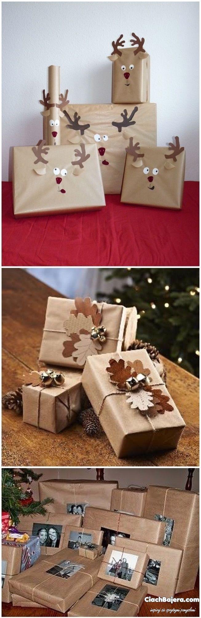 Pakowanie świątecznych prezentów szarym papierem