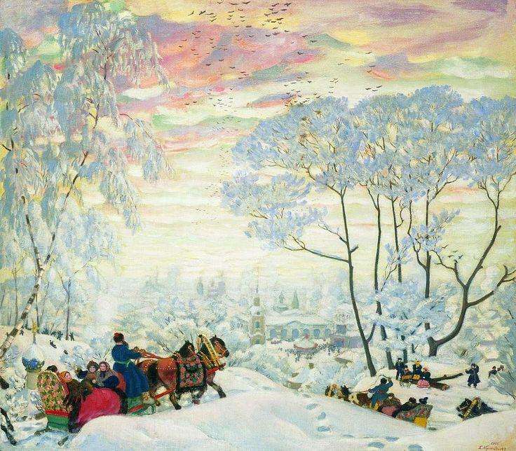 Борис КУСТОДИЕВ 1878 1927 Зима 1916 Холст масло. Борис Михайлович Кустодиев