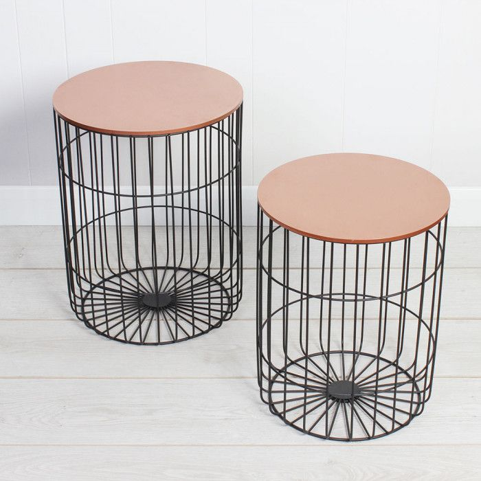 Set of Two Black and Copper Nesting Side Tables