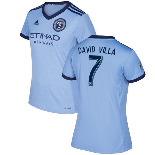David Villa New York City FC adidas Women's 2017 Primary Replica Player Jersey - Light Blue - $104.99