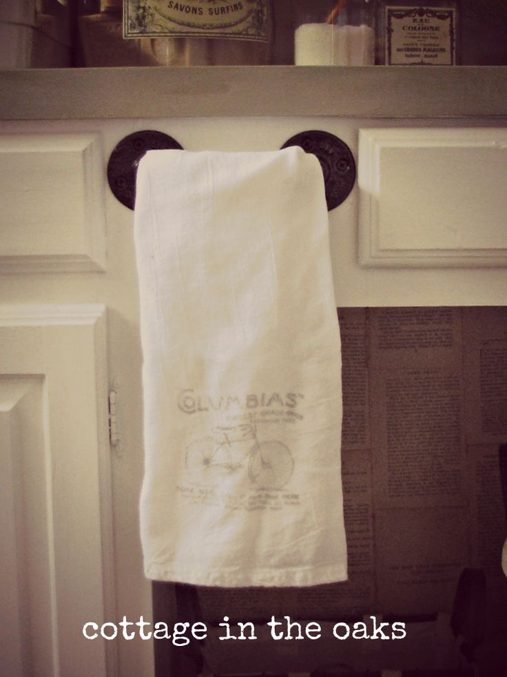 pipe towel bar with french tea towel how-to #diy