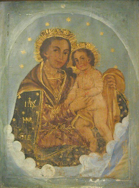 19C Virgen Del Refugio Antique Oil Painting Mexican Colonial School #Realism