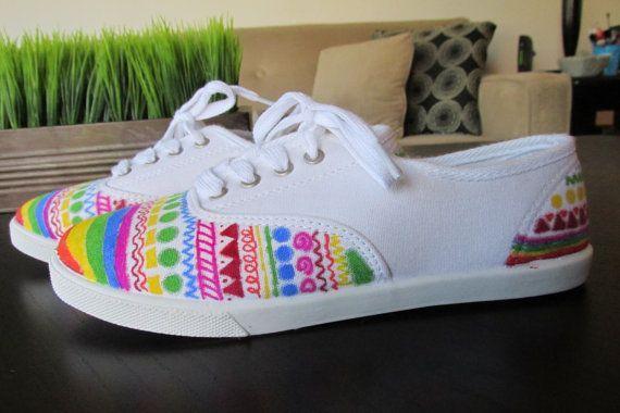 Rainbow Aztec Sharpie Shoes