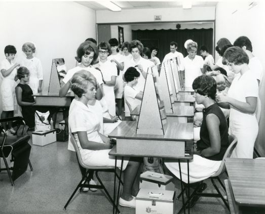 An old Empire Beauty School classroom. This amazes me.