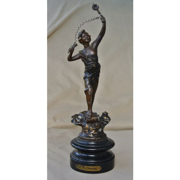 Le Telephone French 1800s Heroic Technology Spelter Figurine ($525) ❤ liked on Polyvore featuring home, home decor, bronze home decor, french home decor, bronze plaques and bronze figurines