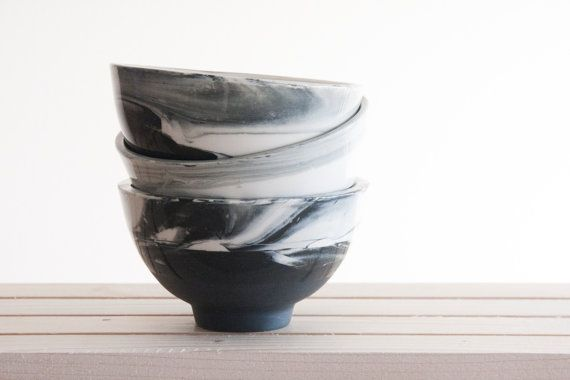 Marble black and white.Hand made ceramic bowl with glossy glaze. Modern and urban look