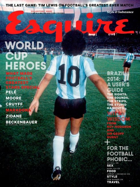 """MediaSlut's #MagLove: """"World Cup magazine covers starting to trend"""", 9 May 2014: Esquire UK, June 2014 — Diego Maradona."""