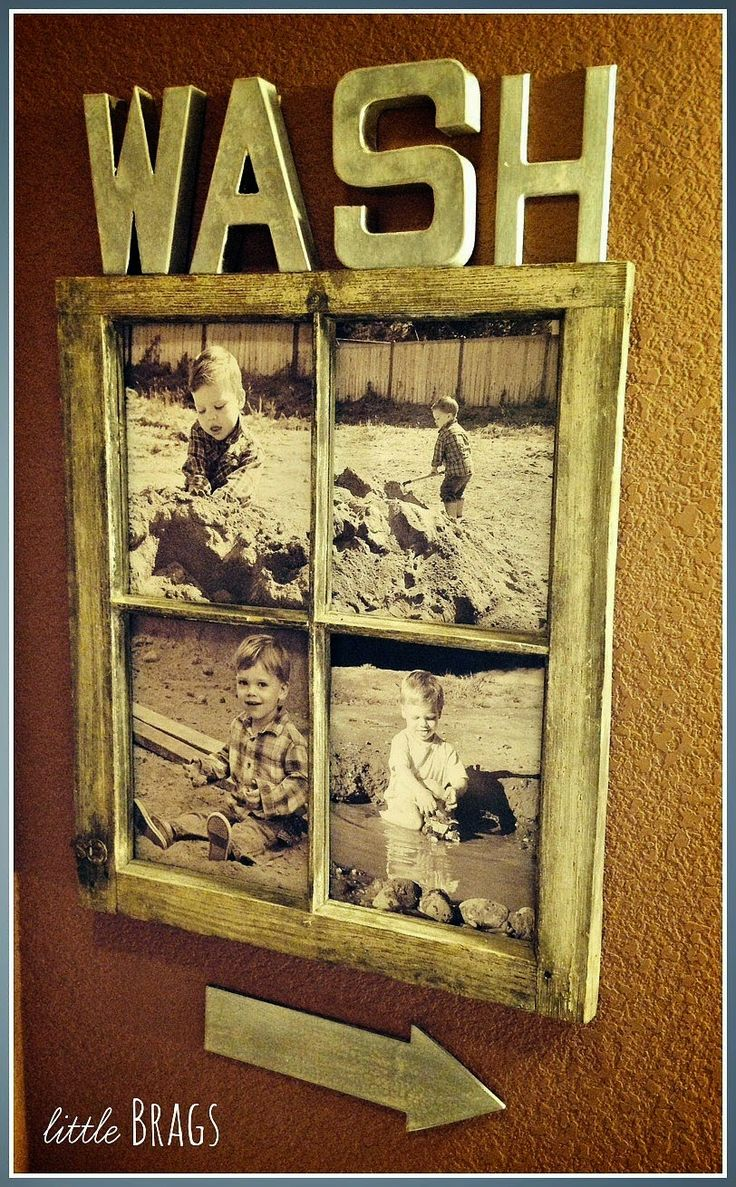 Epic Old window decoration window frame Picture Frame sack fabric Linen fabric wanddeko