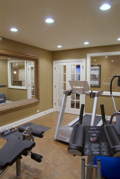 Home Gym ideas. I like the large framed mirror in this space.