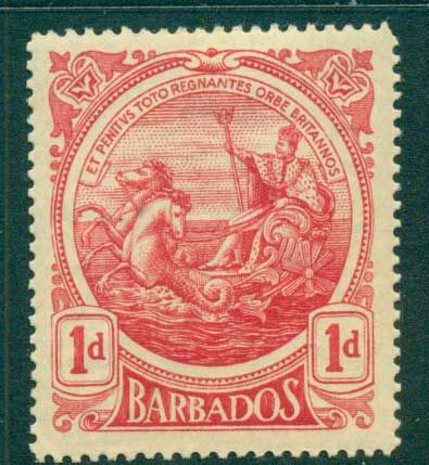 Barbados 1916-18 1d Seal of the Colony (tones) MLH lot55033