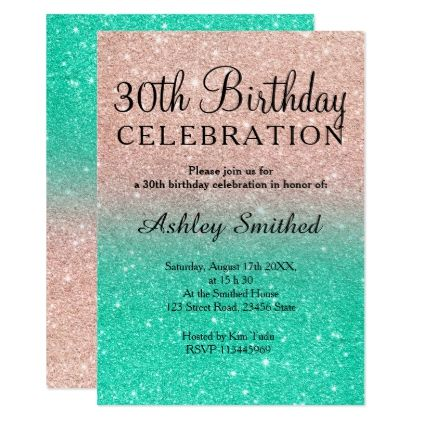 Rose Gold Glitter Turquoise Sombre 30th Birthday Card