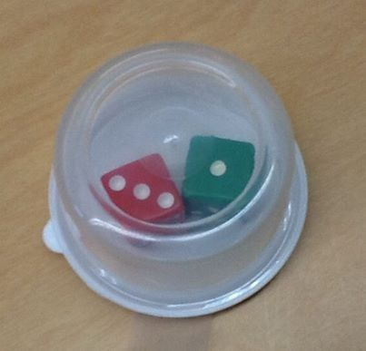 Do you play dice games in your classroom? Do you have dice rolling off of tables? Do you have dice flying through the air? If you answered yes to any of these questions, I have a CHEAP and EASY solution for you! Buy small clear plastic containers, (the one in the picture came in a package of 4 from the dollar store), put your dice inside, tape the lid, and viola! Your dice are now under control!