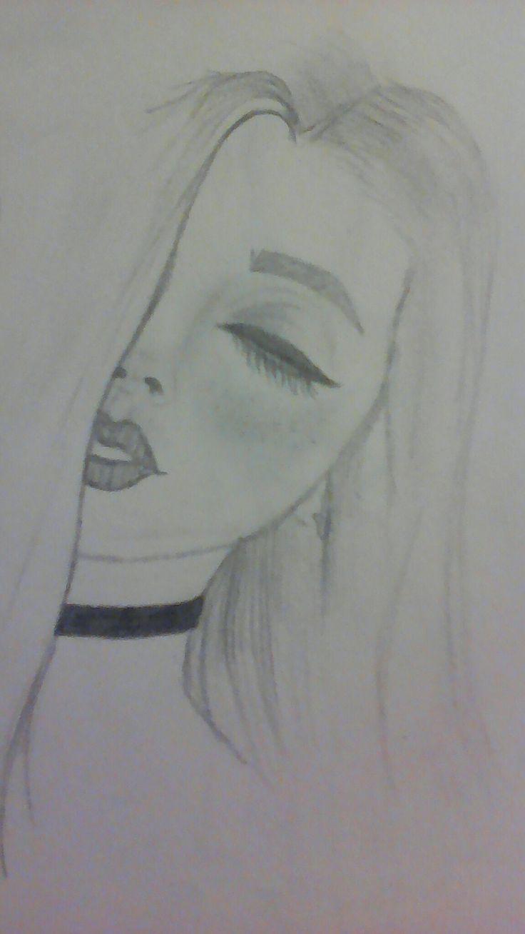 Easy Sketch Of A Girl Easy Girl Sketch Art Drawings