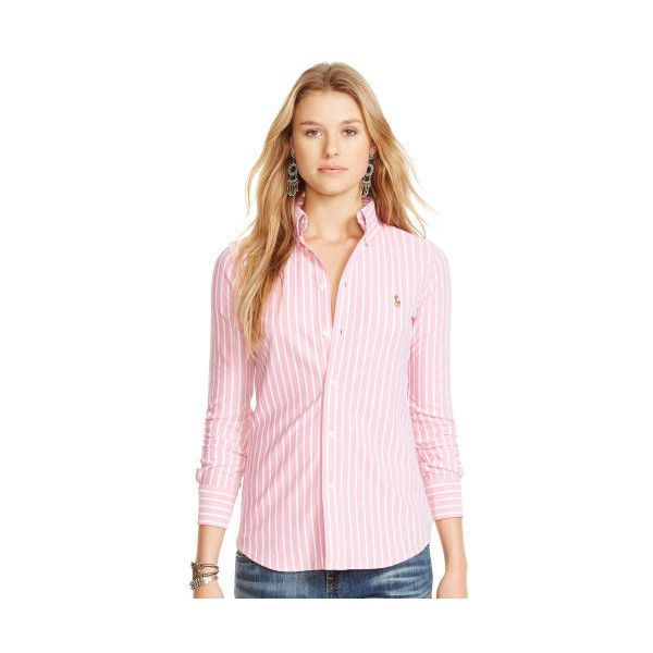 Polo Ralph Lauren Striped Knit Oxford Shirt ($99) ❤ liked on Polyvore featuring tops, stripe shirt, pink shirt, embroidered shirts, slim fit oxford shirt and striped sleeve shirt