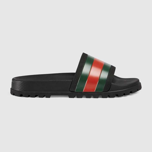 GUCCI Web Slide Sandal. #gucci #shoes #men's sandals