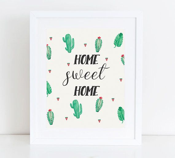 """PRINTABLE Art """"Home Sweet Home"""" Typography Art Print Cactus Art Print Floral Cactus Cactus Wall Art Home Decor Cactus Wreath Be Our Guest by PastelPrintablez on Etsy"""