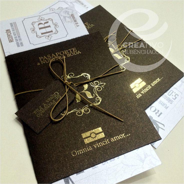 Incredible passport wedding invitation - Invitacion a Boda estilo pasaporte + Boleto #creativo #ruben #chacon #venezuela www.instagram.com/creativorubenchacon