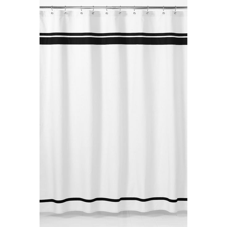 Transform the look of your bathroom with this contemporary hotel shower curtain. The white-and-black design matches seamlessly with your motif, and the machine-washable 100 percent cotton fabric allows you to keep your decor clean and bright.