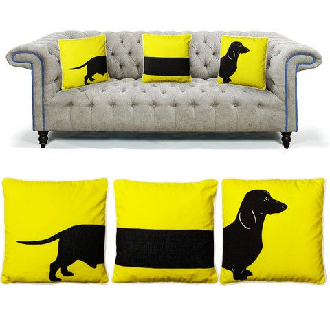 Yellow sausage dog cushions set   Maison Privée