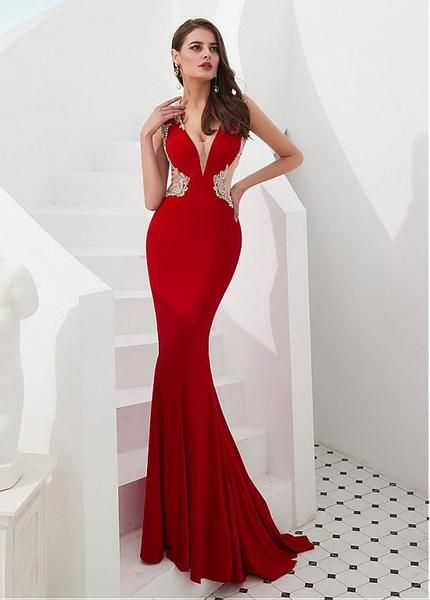 Red Satin   Tulle V-neck Beading Mermaid Evening Prom Dress in 2019 ... 34a52514d