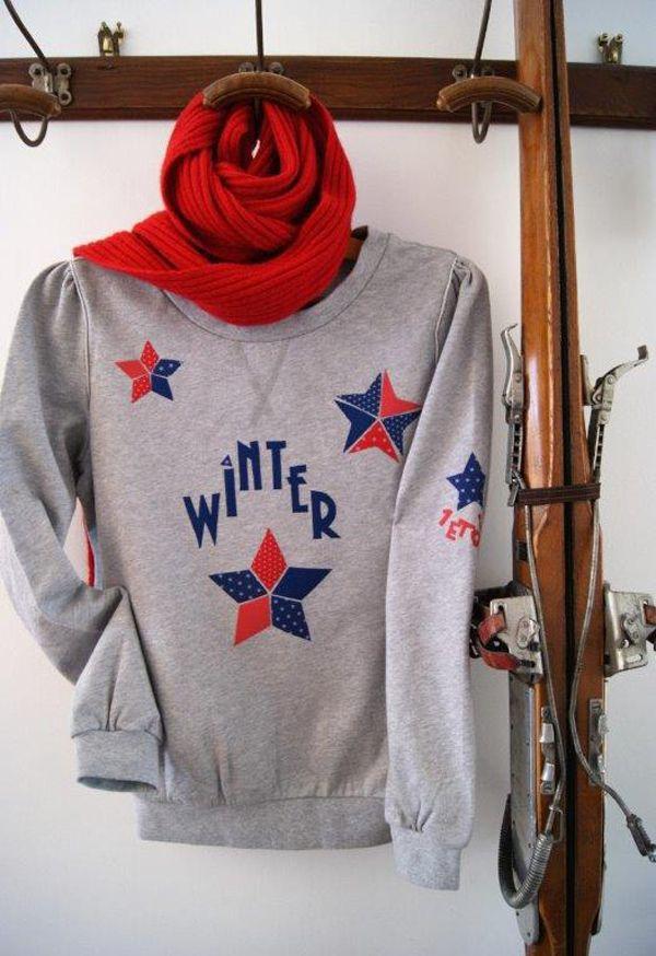 Sweat Winter customisé Bleu Blanc Rouge Frou-Frou