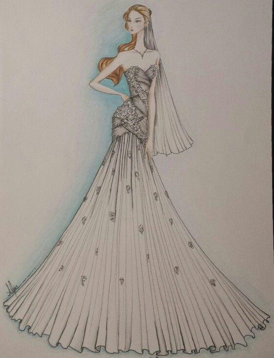 Novia, vestido silueta en A.  by alejalfonso