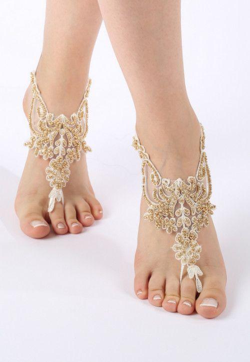 Fildişi altın boncuklu yalınayak sandaletler Beach düğün yalınayak sandaletler |  ByVivienne - ArtFire'de Düğün