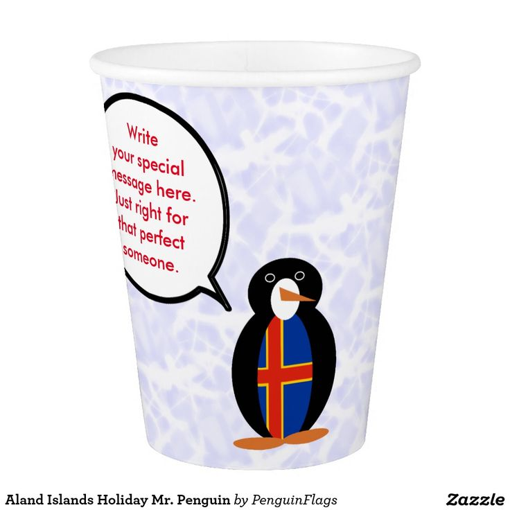 Paper Cup with Aland Islands Holiday Mr. Penguin